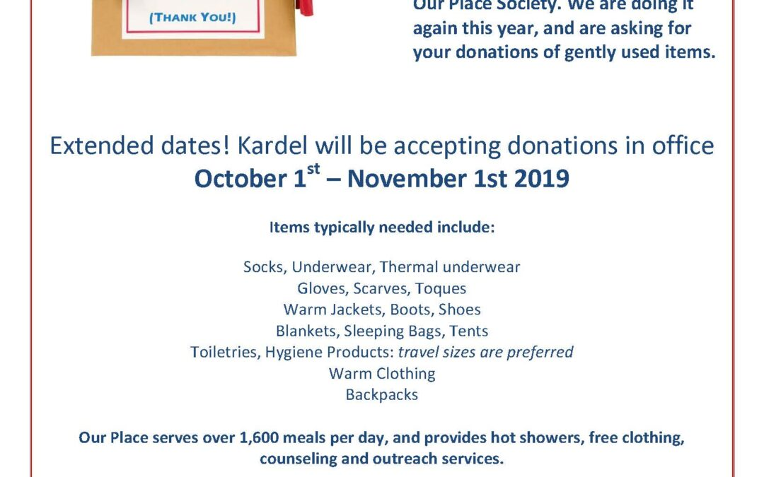 Kardel Donation Drive Extended to November 1st!